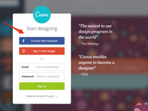 Canva welcome page