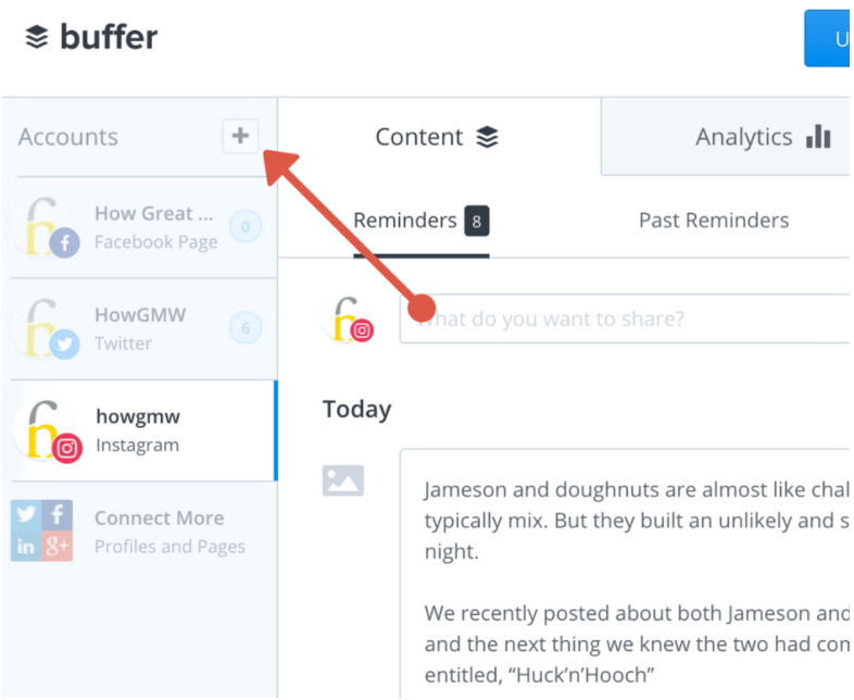 Add social media profiles with buffer
