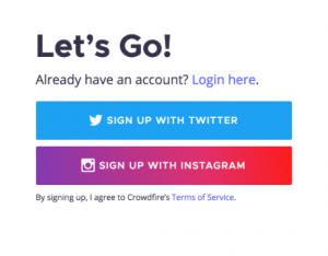 Crowdfire sign up